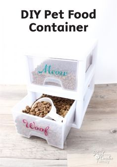 Avoid the mess when feeding your family pets by making this easy DIY container to keep their food neat and organized.