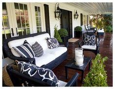 Navy wicker porch furniture w/ white cushions - Kriste Michelini Interiors