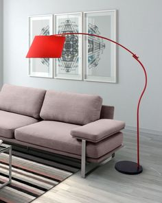 Derecho Swing arm Floor Lamp created by Zuo Modern with painted steel leg and tapered shade also black marble base to give vibrant accent for your living room