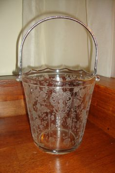 Cambridge Glass Rose Point Etch Ice Bucket