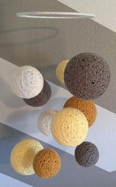 Yarn Ball Mobile In Yellow Gray & White by Backporchcrafts85