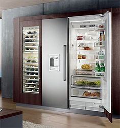 if you have something you are proved of, it's ok to show it off. The wine fridge has a glass door, the normal fridge does not. Home Decor Kitchen, New Kitchen, Kitchen Ideas, Kitchen Designs, Fridge Organization, Wine Fridge, Dream Home Design, French Door Refrigerator, Home Renovation