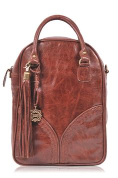ATLANTIS. Brown leather backpack / convertible backpack / convertible bag / hipster backpack. Available in different leather colors.