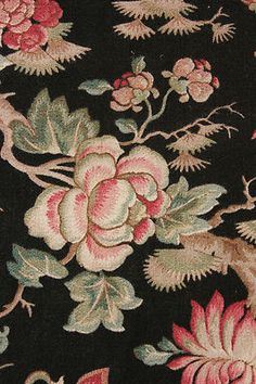 ~ stunning antique French curtain panel ~ wonderful Chinoiserie design ~ black ground ~ ideal for antique French interiors ~ from The Textile Trunk ~ www.textiletrunk.com