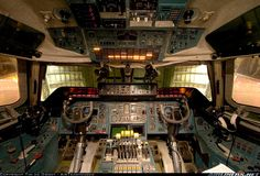 One of the most unique cockpits in the world. The flightdeck of the Antonov 225 is without a doubt the most spectacular cockpit I have visisted. Check out those six throttle levers, the pilots must get a great sensation when they open the throttle on this giant. The outside view is blocked by the opened nose. Antonov An-225 Mriya