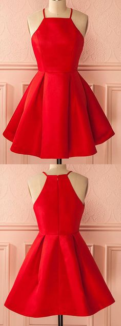 Red Homecoming Dress with Ruffles,Short Straps Red Prom Dresses,Cheap Homecoming Dress for Girls,Sweet 16 Dress,Sleeveless Homecoming Dresses,H033