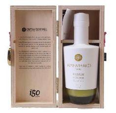 Huile d'olive Premium by Albantakis Family (avec boîte en bois) 250 ml Olive Oil Packaging, Greek Olives, Olive Oil Bottles, Olive Tree, Balsamic Vinegar, Whisky, Whiskey Bottle, Packaging Design, Branding