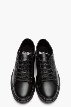 DR. MARTENS Black Leather Farrell Lace to Toe Shoe