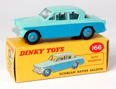 Lot 1928 - Dinky, 166 Sunbeam Rapier, two-tone, blue lower, turquoise upper, mid-blue hubs, correct spot on