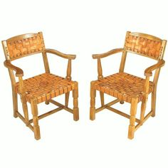 Pair Rustic White Oak & Woven Leather Arm Chairs | From a unique collection of antique and modern armchairs at http://www.1stdibs.com/furniture/seating/armchairs/