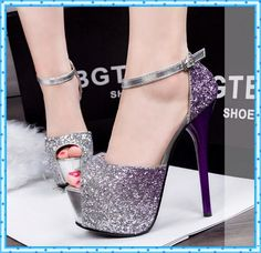 fashion paillette summer wedding shoes woman high heels peep toe pumps 2015 ladies ankle strap Sandals women purple shoes D11