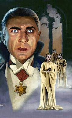 Universal Classic Monsters Art : Bela Lugosi as Count Dracula by Mark Maddox. Retro Horror, Horror Icons, Vintage Horror, Horror Films, Classic Monster Movies, Classic Horror Movies, Classic Monsters, Arte Horror, Horror Art