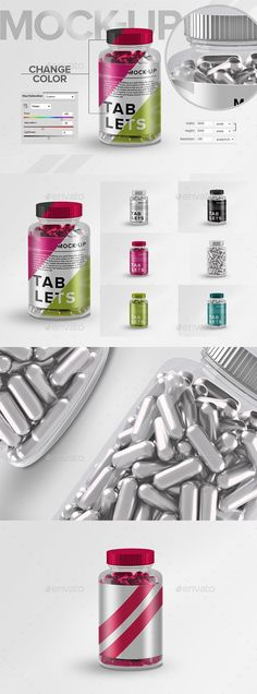 Vitamins Tablets Pills Bottle label Mock-Up - Product Mock-Ups Graphics