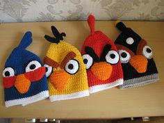 knitted kids caps and mittens Baby Hat Knitting Pattern, Knitting Patterns, Crochet Patterns, Crochet Ideas, Angry Birds, Knit Crochet, Crochet Hats, Baby Hats, Mittens