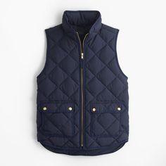 J.Crew Excursion quilted down vest ($100) ❤ liked on Polyvore featuring outerwear, vests, slim fit vest, lightweight quilted vest, j.crew, j crew vest and down filled vest