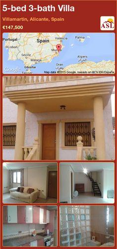 Villa for Sale in Villamartin, Alicante, Spain with 5 bedrooms, 3 bathrooms - A Spanish Life Mirrored Wardrobe, Fitted Wardrobes, Alicante Spain, Walk In Shower, Best Location, Golf Courses, Villa, Bathroom, Bed