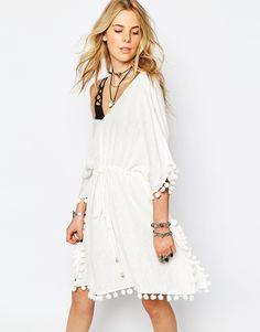 Image 1 ofGlamorous Tie Waist Tunic Dress with Pom Poms