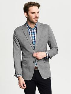Tailored-Fit Grey Herringbone Cotton Blazer