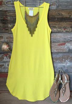 Fashionable Summer Dress Image Description Fun in the Sun Tank Dress: Yellow from privityboutique - Look Fashion, Fashion Outfits, Womens Fashion, Fashion Trends, Spring Summer Fashion, Spring Outfits, Casual Outfits, Cute Outfits, Casual Dresses