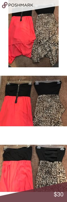 2 Beautiful high/low Ladies Dresses! Size Smalls Two beautiful High/Low dresses for women. Excellent for any occasion! Gorgeous when wearing!!   1st dress color: Black & Coral 2nd dress color: Black & Leopard.  68% Polyester 24% Rayon 8% Spandex  Both Size Small, Selling together.  Bundle and Save! Dresses High Low