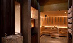 The sauna room at The Spa at The Chedi Andermatt, Andermatt, Swiss Alps, Switzerland Andermatt, Design Sauna, Gym Design, Chedi Hotel, Sauna Room, Leading Hotels, Wellness Spa, Bathroom Spa, Swiss Alps