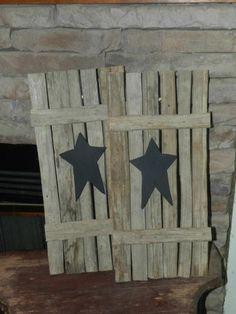 Tobacco Stick shutters with black star  www.facebook.com/doodlepawdesigns