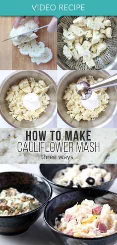 How to make cauliflower mash plus 3 ways to enjoy it! Make these faux potatoes for your next low carb dinner and dress them up any way you like. Watch our video recipe at www.tasteaholics.com to see how easy it is!