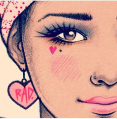 Girl Drawing and Little Heart #face #cute / Disegno Ragazza e Cuoricino #viso #dolce - Art by Rik Lee