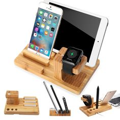 Desktop Wood Charge Dock Stand Holder For Smart Watch For Phone For Ipad Tablet