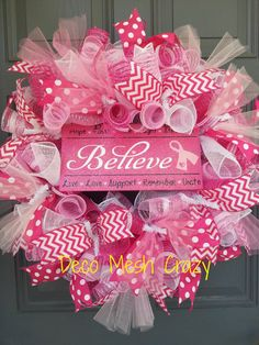 Breast Cancer Deco Mesh Wreath, Believe Pink Deco Mesh Wreath, Breast Cancer Awareness Deco Mesh Wreath, Pink and White Deco Mesh Wreath Breast Cancer Wreath, Breast Cancer Crafts, Wreath Crafts, Diy Wreath, Diy Crafts, Wreath Ideas, White Wreath, Wreath Making, Ribbon Crafts