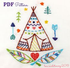 Western Teepee Hand Embroidery PDF Pattern | Flickr: Intercambio de fotos