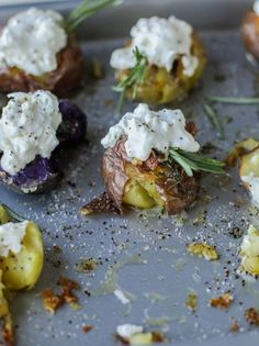 crispy buttered rosemary smashed potatoes with burrata I howsweeteats.com