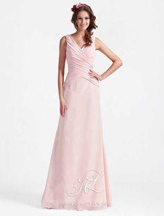 robe demoiselle d'honneur, mousseline, pêche, col-V, princesse  http://www.robesoir.fr/robe-soir/654-floor-length-sleeveless-pink-chiffon-a-line-hl-013.html#