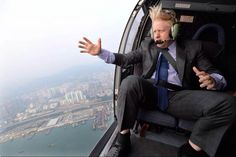Mayor of London, Boris Johnson in a helicopter surveying his domain