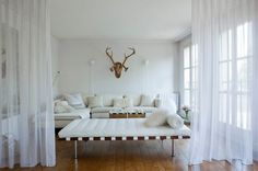 """Do you need a new bedroom (or craft, sewing, storage, you know whatever) room? Instead of creating four """"solid"""" walls, a DIY room divider wil… Hanging Room Dividers, Room Divider Curtain, Diy Room Divider, Curtain Room, Wall Dividers, Space Dividers, White Rooms, Ikea Hacks, Small Apartments"""