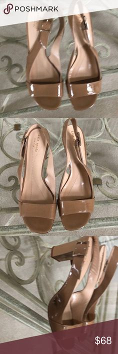 Kate Spade patent Leather Nude Beige Heel 10 Never worn shoes that have a flaw on the side of the shoe. A manufacturer dark spot that appears to be a shadow when worn. Leather sole. Beautiful pair of shoes. Enjoy! kate spade Shoes Heels