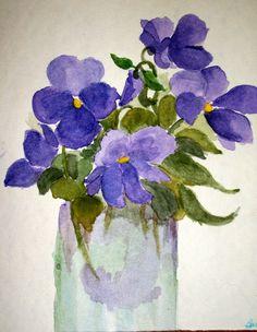 Purple Pansies in Jar