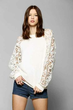Pins And Needles Lace-Sleeve Pullover Sweatshirt - Urban Outfitters