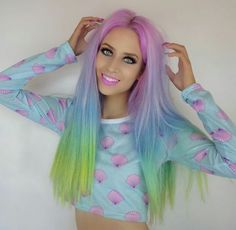 Amy the Mermaid Mint Hair, Neon Hair, Yellow Hair, Purple Hair, Two Toned Hair, Beautiful Hair Color, Mermaid Hair, Dream Hair, Straight Hairstyles