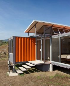 Shipping Container Homes: Containers of Hope is the latest project by Benjamin Garcia Saxe and is composed of two shipping containers set together with a raised mid section and clerestory windows. Container Buildings, Container Architecture, Architecture Design, Container Cabin, Container Design, Cargo Container, Container Conversions, Hm Home, Shipping Container Homes