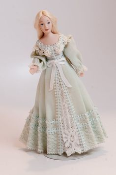 Dollhouse Miniature Handcrafted Porcelain Lady Doll in Blue by The Doll Lady #TheDollLady