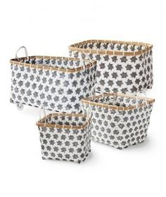 """Rolling Mercado Baskets: Store children's toys and trinkets in this rolling basket so they can push it easily from room to room without any heavy lifting. The graphic weave makes it nice enough to leave out if """"clean up"""" isn't a phrase your little one understands yet. Available in four colors."""