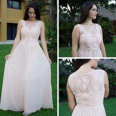 89d4b96d6 Hermoso vestido color palo de rosa con piedras en la cintura y encaje en la  parte