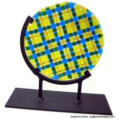 Home decor art Glass Sculpture Blue Yellow by coastalartglass, $280.00