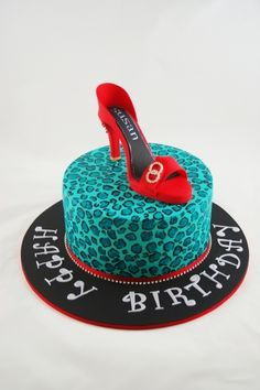 Teal leopard print with shoe By Taste_Cake_Design on CakeCentral.com