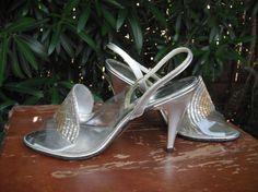 Amano vintage argento perline tacchi Strappy / di KlassyKlassics