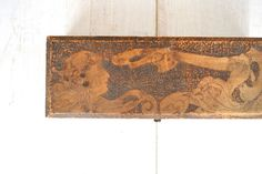 Antique Pyrography Wood Box Metal Hinge by StoryTellersVintage, $30.00