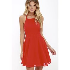 Good Deeds Red Lace-Up Dress (910 MXN) ❤ liked on Polyvore featuring dresses, red flared skirt, open back cocktail dress, flared skirt, red skater skirt and red circle skirt