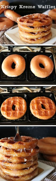 It's like Krispy Kreme donuts and Waffles had a BABY! Such a great idea! Yummy Treats, Delicious Desserts, Dessert Recipes, Yummy Food, Crepe Recipes, Drink Recipes, Healthy Food, Waffel Vegan, Waffle Maker Recipes
