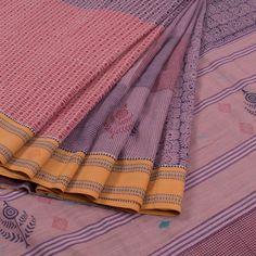 Buy online Hand Block Printed Half & Half Khadi Cotton Saree With Floral Motifs 10010021